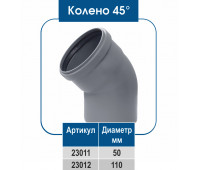 Колено ПВХ 45° (ВН)